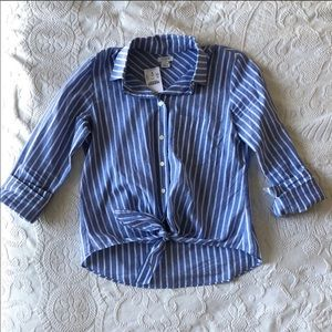 JCREW Blue vertical striped tie front button up